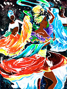 Ethnic Painting Metal Prints - Cuban Dancers - Magical Rhythms... Metal Print by Elisabeta Hermann