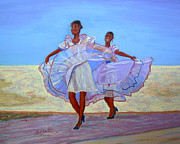 Cuba Pastels Framed Prints - Cuban Dancers Framed Print by Rae  Smith PSC