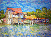 Village Pastels Prints - Cuban Fishing Village Print by Rae  Smith PSC