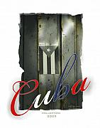 Cuban Flag On Door Print by Bob Salo