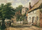 Village Scenes Prints - Cubbington in Warwickshire Print by Thomas Baker