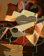 Olive Green Prints - Cubism 2 Print by Lee Ann Asch