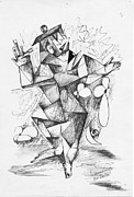 Happiness Drawings Originals - Cubist Man 2 by Padamvir Singh