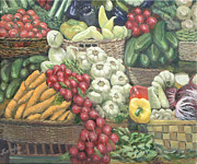 Wicker Baskets Prints - Cucumbers Please Print by Joseph Carragher