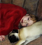 Fawn Pug Paintings - Cuddle Time by Shere Crossman