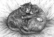 Kelly Posters - Cuddly Cats - Black and White Art Print Poster by Kelli Swan