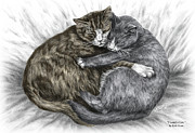 Kelly Posters - Cuddly Cats - Color Tinted Art Print Poster by Kelli Swan