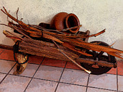 Wood Wheel Prints - Cuenca Antique Wheelbarrow Print by Al Bourassa