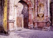 Historical Buildings Painting Posters - Cuernavaca Cathedral Poster by David Lloyd Glover