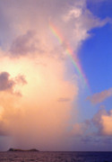 Rainbow Over Caribbean Prints - Culebra Rain Cloud and Rainbow Print by Thomas R Fletcher