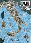 Culinary Drawings Framed Prints - Culinary Map of Italy Framed Print by Big Tasty
