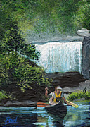 Canoe Waterfall Painting Framed Prints - Cumberland Falls Framed Print by Bill Brown