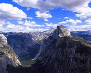 Mariposa County Prints - Cumulus Clouds and Half Dome Yosemite CA Print by Troy Montemayor