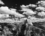 Mariposa County Prints - Cumulus Clouds and Half Dome Yosemite National Park Print by Troy Montemayor