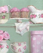Shabby Chic Prints - Cup Cakes and Roses Print by Gail McCormack