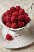 Sweet Framed Prints - Cup full of raspberries  Framed Print by Garry Gay