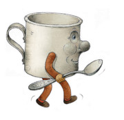 Spoon Drawings Prints - Cup Print by Kestutis Kasparavicius