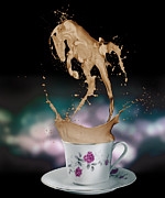 Photoshop Digital Art Posters - Cup of Coffee Poster by Kate Black