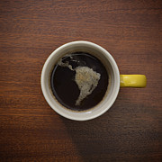 Coffee Mug Prints - Cup Of Coffee With Crema Resembling South America Print by David Malan