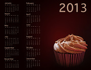 Annual Prints - Cupcake calendar 2013 Print by Jane Rix