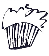 Flood Drawings Posters - Cupcake Poster by Darlene Flood