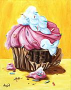 Party Painting Metal Prints - Cupcake Metal Print by Maryn Crawford