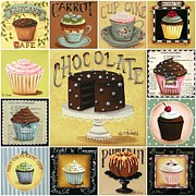 Folk Art Prints - Cupcake Mosaic Print by Catherine Holman