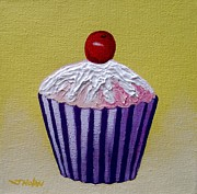Sweets Painting Acrylic Prints - Cupcake On Yellow Acrylic Print by John  Nolan