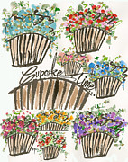 Shower Drawings Prints - Cupcake Time Today Print by Darlene Flood