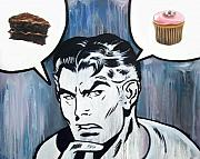 Man Prints - Cupcake Vs. Cake Print by Ryan Jones