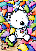 Cartoon Drawings Originals - Cupcake Westie by Kim Niles