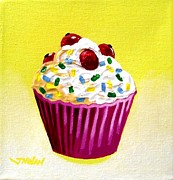 Sweets Painting Acrylic Prints - Cupcake With Cherries Acrylic Print by John  Nolan