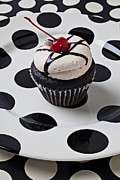 Frosting Prints - Cupcake with cherry Print by Garry Gay