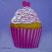 Sweets Painting Acrylic Prints - Cupcake With Heart Acrylic Print by John  Nolan
