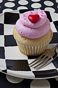 Plate Plates Prints - Cupcake with heart on checker plate Print by Garry Gay