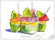 Fun Food Mixed Media Framed Prints - Cupcake With Limes Framed Print by Michele Hollister - for Nancy Asbell