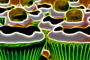 Desert Digital Art Prints - Cupcakes - Electric - Green Print by Wingsdomain Art and Photography