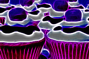 Birthdays Framed Prints - Cupcakes - Electric - Violet Framed Print by Wingsdomain Art and Photography