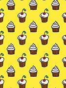Colored Background Art - Cupcakes On A Yellow Background by Lana Sundman