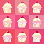 Happy Framed Prints - Cupcakes pop art  Framed Print by Jane Rix