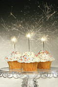 Happy Birthday Prints - Cupcakes with sparklers Print by Sandra Cunningham