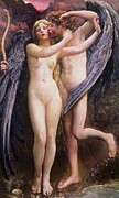Psyche Paintings - Cupid and Psyche by Annie Louisa Swynnerton