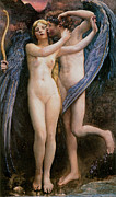 Psyche Paintings - Cupid and Psyche by Annie Swynnerton