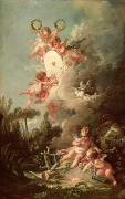 Cherub Framed Prints - Cupids Target Framed Print by Francois Boucher