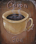 Plaque Painting Posters - Cuppa Joe Poster by Callie Smith