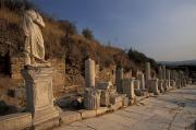 Ephesus Framed Prints - Curates Street In Ephesus, Turkey Framed Print by Richard Nowitz