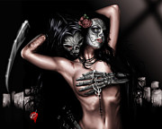 Portrait Of Woman Metal Prints - Cure my Tragedy Metal Print by Pete Tapang