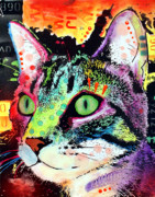 Artist Mixed Media Metal Prints - Curiosity Cat Metal Print by Dean Russo