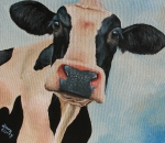 Cow Metal Prints - Curiosity Metal Print by Laura Carey