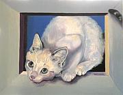 Kitten Prints Drawings Framed Prints - Curiosity Framed Print by Susan A Becker